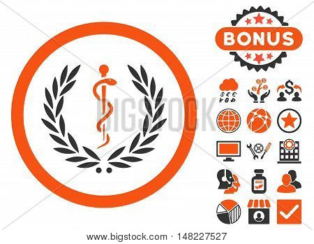 Health Care Emblem icon with bonus pictures. Vector illustration style is flat iconic bicolor symbols, orange and gray colors, white background.