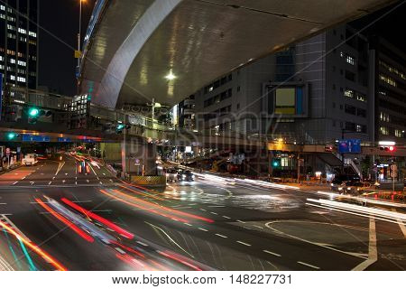 TOKYO-JAPAN, 27 June 2016:  Shibuya street during the evening with light trails in Tokyo, Japan