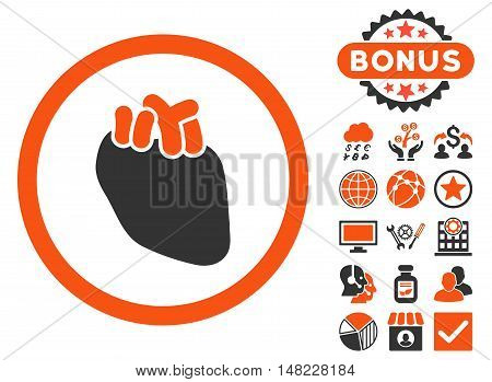 Heart Organ icon with bonus design elements. Vector illustration style is flat iconic bicolor symbols, orange and gray colors, white background.