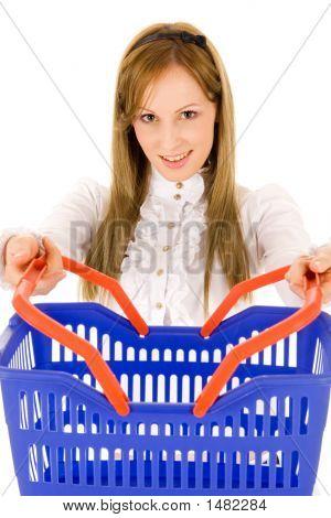 Brunette Girl With Shopping Basket