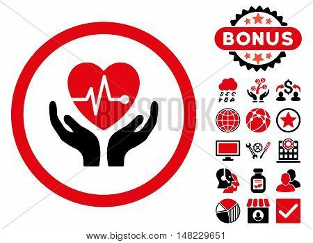 Cardiology icon with bonus pictogram. Vector illustration style is flat iconic bicolor symbols, intensive red and black colors, white background.