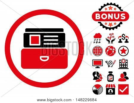 Catalog icon with bonus design elements. Vector illustration style is flat iconic bicolor symbols, intensive red and black colors, white background.