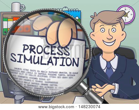 Businessman Sitting in Offiice and Shows Paper with Concept Process Simulation. Closeup View through Magnifier. Colored Modern Line Illustration in Doodle Style.