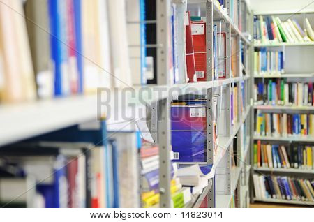 book and magazines in modern library at university