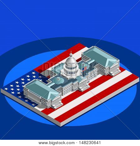 Election infographic.Us Washington DC capitol dome presidential conference meeting.Party convention hall.3D flat isometric senate congress politic tribune theatre auditorium.Vector isometric building