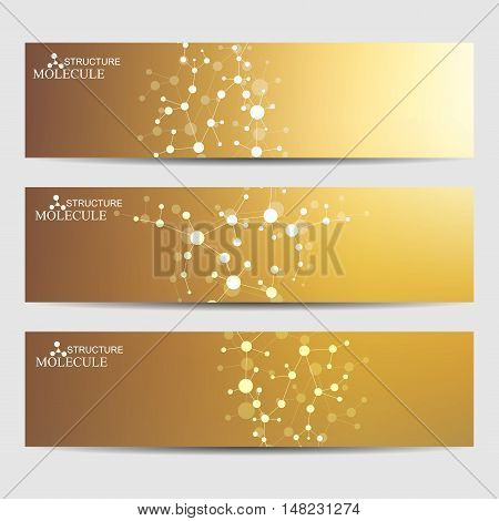 Abstract geometric banners molecule and communication. Science and technology design, structure DNA, chemistry, gold medical background, business and website templates. Vector illustration.