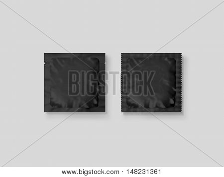Blank small plastic packet design mockup 3d illustration clipping path. Clear retort sachet mock up template. Clean black pouch bag for condom wet napkin sugar shampoo or medicine powder.