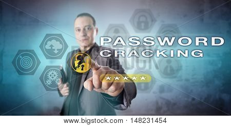 Male system administrator is pointing out PASSWORD CRACKING onscreen. Computer security metaphor and cybercrime concept for cryptographic attacks password authentication and cracking software.