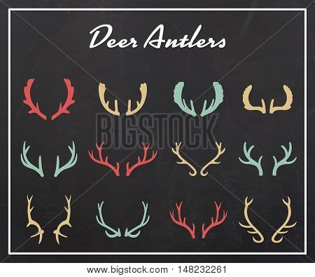 Vintage silhouettes of different deer horns, vector illustration on texture background