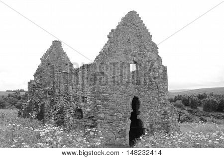 A view of the ruins of a stable building at Crichton castle