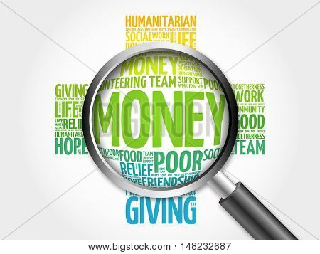 Money Word Cloud With Magnifying Glass, Cross Concept 3D Illustration