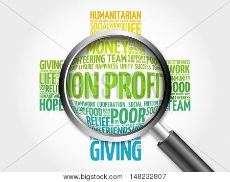 Non Profit Word Cloud With Magnifying Glass, Cross Concept 3D Illustration