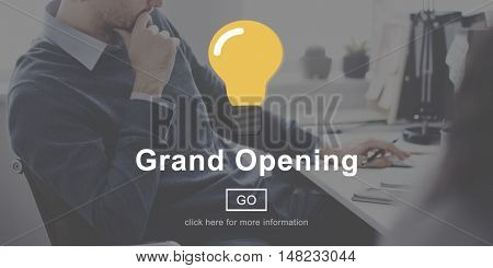Grand Opening Launch Start Icon Concept