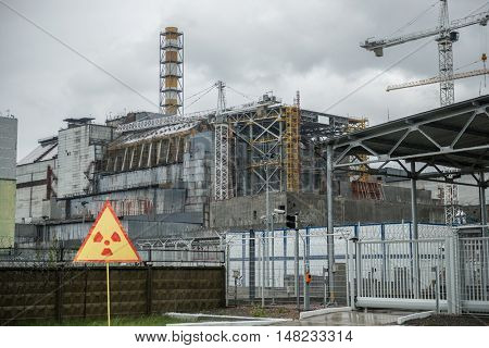 Chernobyl nuclear power station, 4-th block with warning sign