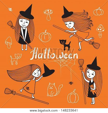 Vector set of cute girls witch costume. Cartoon set design for Halloween. Children, mushrooms, cat, kitty, pumpkin, spider. Black-and-white outline drawing on an orange background.