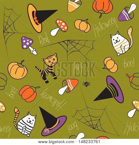 Halloween seamless pattern. Mushrooms, cat, kitty, pumpkin, spider and web on green background
