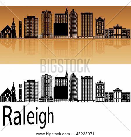 Raleigh skyline in orange background in editable vector file