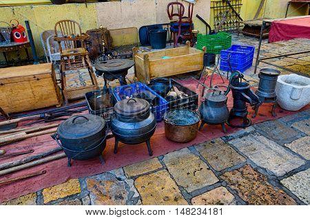 Different house equipment exhibited on market in Tarragona, summer Spain