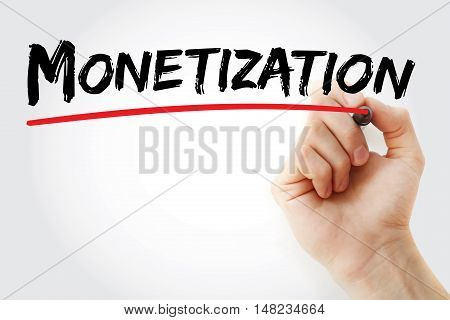 Hand Writing Monetization With Marker