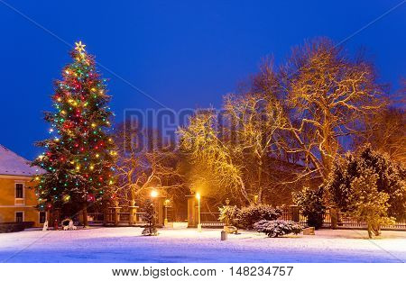 Christmas tree in the snow town by night