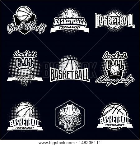 Streetball and basketball icon logo set with ball and basket in modern and vintage styles - stock vector