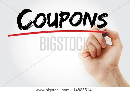 Hand Writing Coupons With Marker