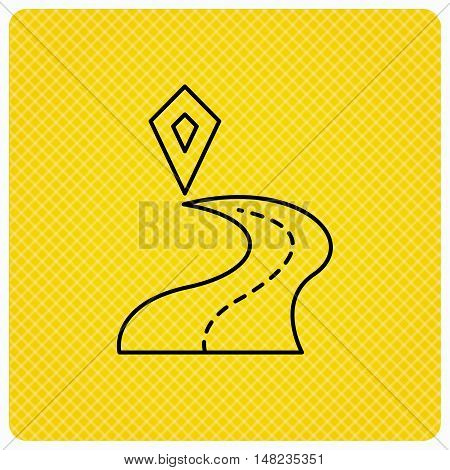 Destination pointer icon. Road location sign. Linear icon on orange background. Vector