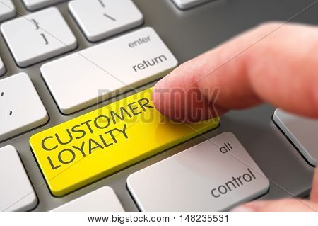Man Finger Pushing Customer Loyalty Yellow Key on Modern Keyboard. 3D Illustration.