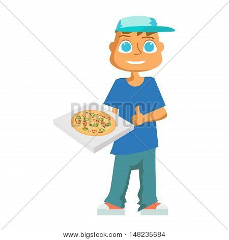 cartoon pizza delivery guy flat design. Vector illustration
