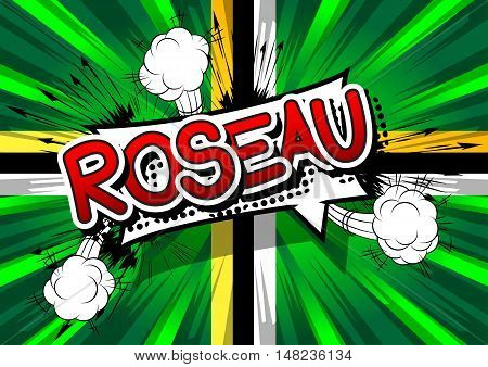 Roseau - Comic book style text on comic book abstract background.