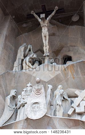 BARCELONA, SPAIN - SEPTEMBER 22, 2014: Detail view of Facade of Sagrada Familia in Barcelona, Spain. Roman Catholic church designed by Catalan architect Antoni Gaudi.