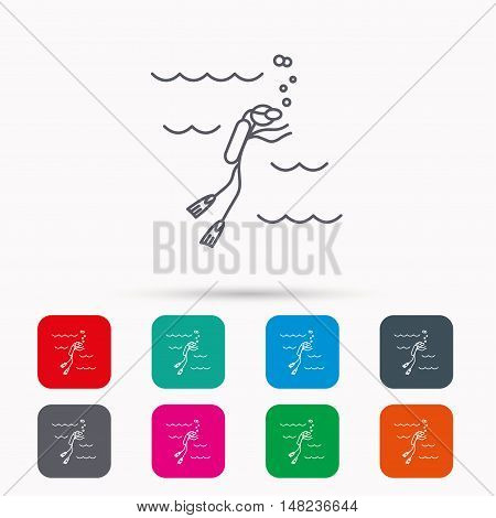 Diving icon. Swimming underwater with tube sign. Scuba diving symbol. Linear icons in squares on white background. Flat web symbols. Vector