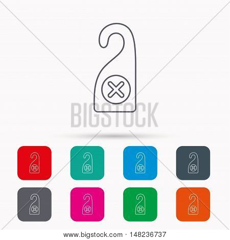 Do not disturb icon. Sleep door hanger sign. Hotel maid service symbol. Linear icons in squares on white background. Flat web symbols. Vector