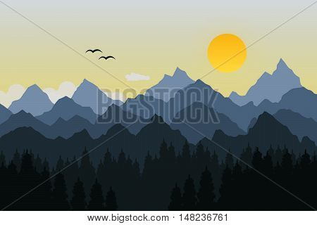 Vector illustration of mountain with sun and guls