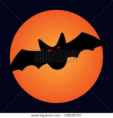Bat and moon sign. Image of black vampire with red eyes on full moon background. Symbol of dracula. VECTOR illustration