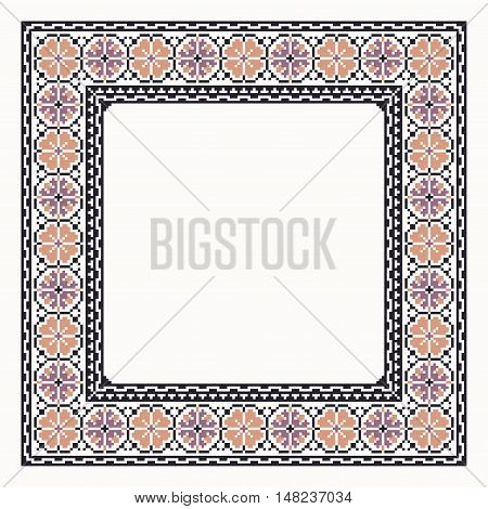 Cross stitch border illustration purple colors elegan for embroidery and trendy design