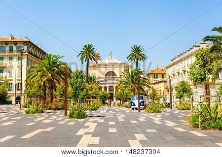 NICE, FRANCE - AUGUST 28, 2016: Square of Voeu, church of st. John the Baptist, Esplanade de la-Burgada, Nice France