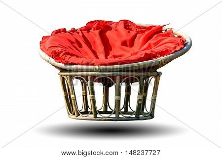 Chairs made of rattan and upholstery fabrics in red isolated on white background.