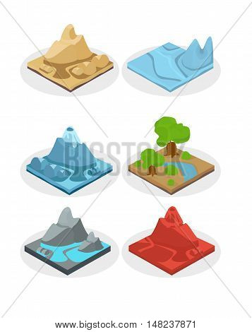 Game ground items. Nature stone landscape in cartoon style interface rock and water layer.