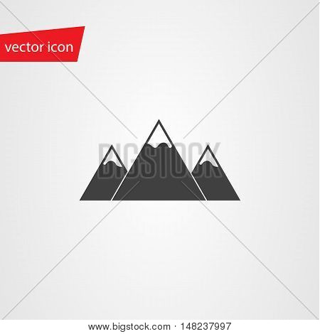 Vector icon of mountains with snow-capped peaks