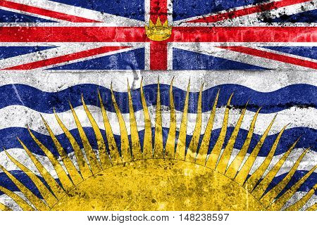 Flag Of British Columbia Province, Canada, Painted On Dirty Wall