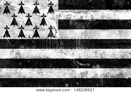 Flag Of Brittany, France, Painted On Dirty Wall
