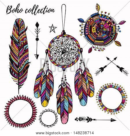 Trendy colorful boho symbols set with feather round borders dream catcher and arrows