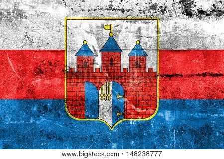 Flag Of Bydgoszcz, Poland, Painted On Dirty Wall