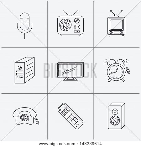 TV remote, retro phone and radio icons. PC case, microphone and alarm clock linear signs. Linear icons on white background. Vector