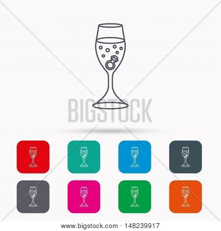 Glass with ring icon. Engagement symbol. Linear icons in squares on white background. Flat web symbols. Vector