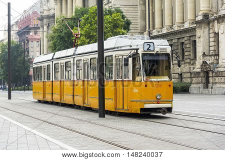 BUDAPEST, SEPTEMBER 17: Yellow tram in Budapest, Hungary on September 17, 2016 in Budapest, Hungary. Yellow tram in Budapest goes from all the historical attractions of the city.