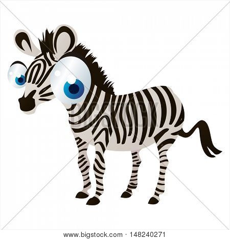 vector cartoon cute animal mascot. Funny colorful cool illustration of happy Zebra