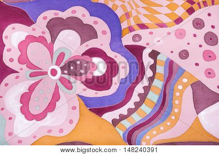 Abstract Pink Floral Ornament On Silk Batik