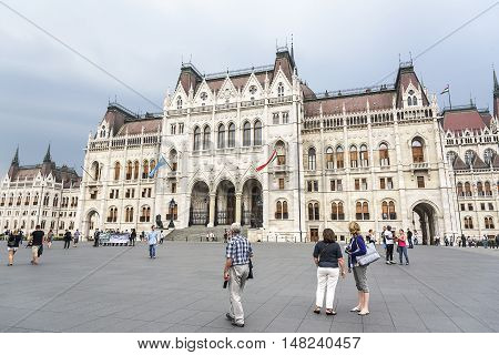 BUDAPEST, SEPTEMBER 17: Building of the Hungarian Parliament on September 17, 2016 in Budapest, Hungary. Building of the Hungarian Parliament is one of the most beautiful architectural structures in Europe.